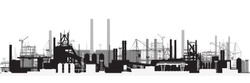 Vector illustration. Panoramic view of industrial landscape.
