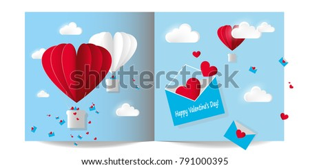 Vector illustration paper card for Valentines day. Open envelope with flying red hearts. Air balloons on blue sky background with white clouds. #791000395