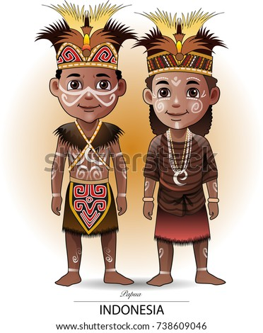 Vector illustration, Papua traditional clothing
