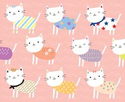 vector illustration pattern cute cat