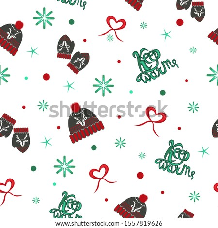Vector illustration, pattern of knitted hats and mittens, lettering keep warm, keep warm, snowflakes, stars, eps 10