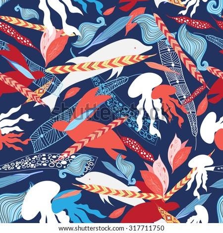 vector illustration pattern sea