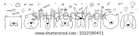 vector illustration pattern set of pretty dogs. graphic design for decorated. linear sketches of animals for design and decoration of gifts and printing on T-shirts