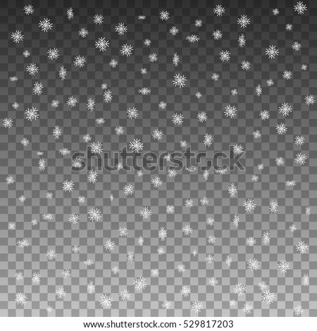 Vector illustration patterned curly falling snowflakes. Snowfall isolated on a transparent background. Falling snow cartoon. Winter snow object element for design. - Shutterstock ID 529817203