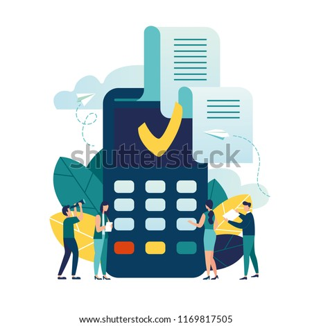 Vector illustration, payment terminal and credit card, concept of online payments NFC, payment confirmation check
