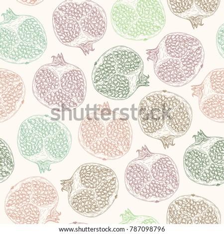 Vector illustration. Pen style vector seamless pattern. Pen style vector sketch. Cut pomegranate. Half a pomegranate .