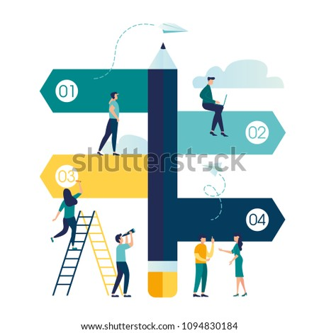 Vector illustration, pencil direction sign in different, destination, choice of directions, travel to different places