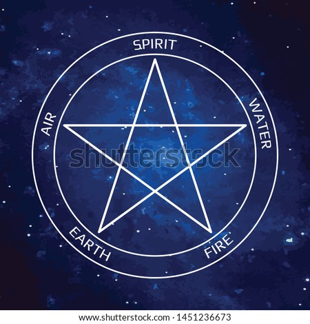 Vector illustration. Pentagram icon with five elements : Spirit , Air, Earth, Fire and Water. Icons of alchemy and sacred geometry. Mystical sense. Wiccan divination, ancient occult symbol. Pictograph