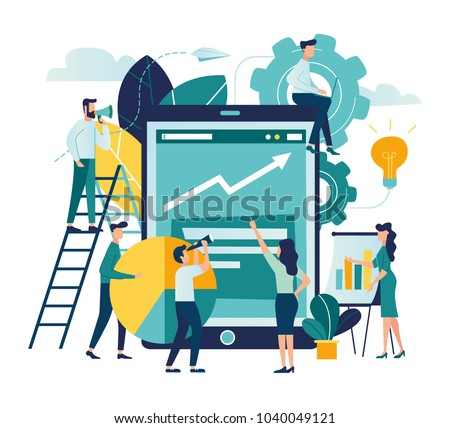 vector illustration people are building a business on the internet. laptop screen with a website. teamwork,promotion of business online, the takeoff rating of the work, ideas