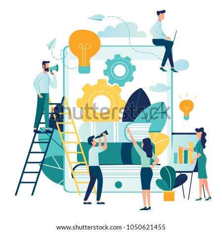 vector illustration people are building a business on the internet. Tablet or smartphone screen with a website. teamwork, promotion of business online, the takeoff rating of the work, ideas