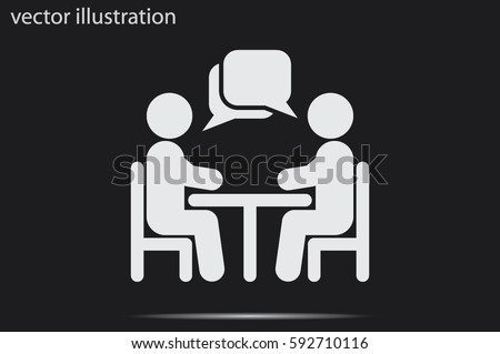 vector illustration people at a table talking, icon.
