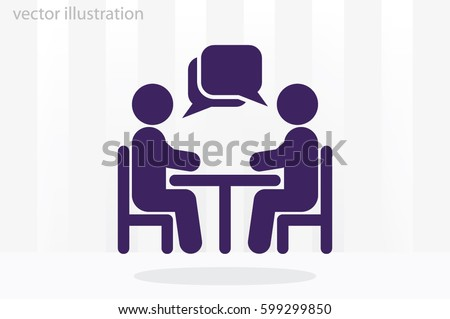 vector illustration people at a table talking, icon
