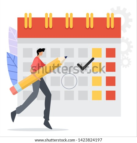 vector illustration. people characters make an online schedule. design business graphics tasks scheduling on a week.