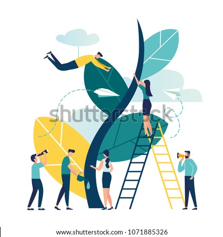 vector illustration. people grow a tree. phytomodule for domestic agriculture. conceptual concept of an ecological garden, people watered and looked after a planted tree, growing upwards
