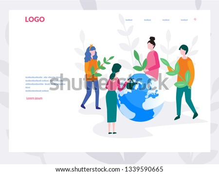 Vector illustration. people grow plants, World Environment Day, Bio Technology, green planet, globe with trees growing on it, ecology,  day of the Earth, save the planet, save energy, Ecological!