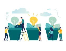 vector illustration. people grow potted plants, a metaphor for the birth of a creative idea. business concept analysis. graphic design idea of project activity - Vector