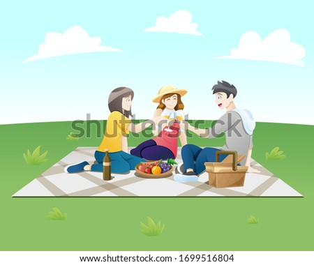 Vector illustration People on a picnic. Group of happy friends at picnic on park. Young smiling men and women eating food, Summer picnic, Picnic party. Vector illustration in flat style