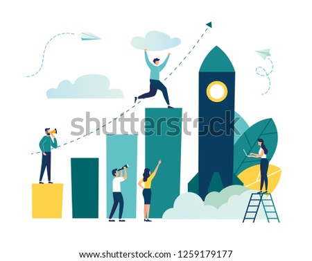 Vector illustration, people run to their goal on a column of columns, move up the motivation, the way to achieve the goal, rocket up, - vector