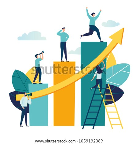 Vector illustration, people run to their goal on the column of columns, move up motivation, the path to the target's achievement vector