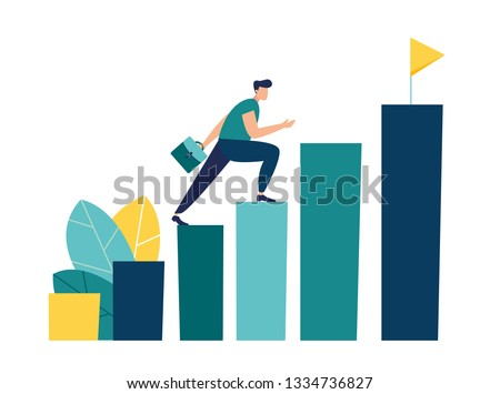 Vector illustration, people run to their goal on the column of columns, move up motivation, the path to the target's achievement - Vector