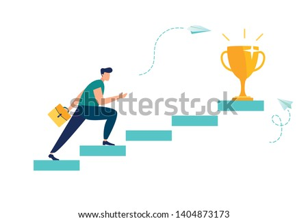Vector illustration, people run to their goal on the column of columns, move up motivation, vector, the path to the target's achievement