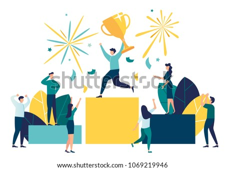 vector illustration. people stand on the podium first, second and third place. best score winner prize vector