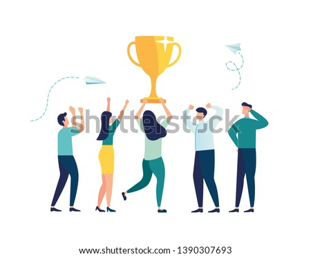 vector illustration. people stand on the podium first, second and third place. best score winner prize