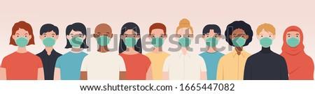 Vector illustration peoples wearing medical mask