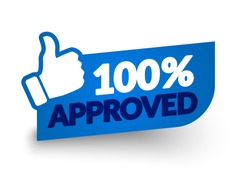 Vector Illustration 100 Percent Approved Label