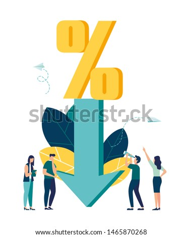 Vector illustration, percent presses down arrow, percent drop.