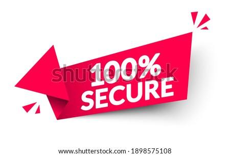 Vector Illustration 100 Percent Secure Arrow Label Photo stock ©