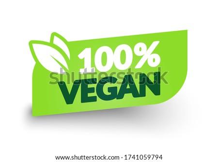 Vector Illustration 100 Percent Vegan Label. Modern Web Button Design