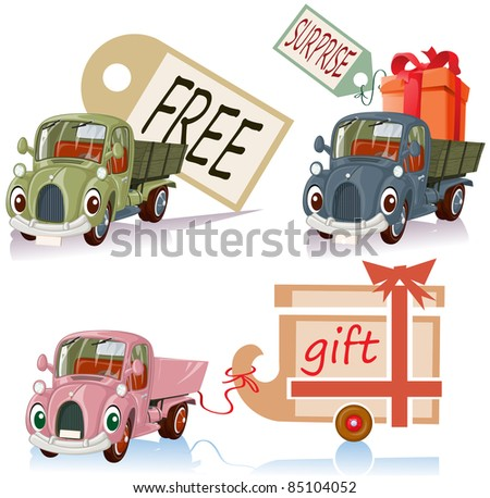 Vector illustration, personified banner cars, card concept, white background.