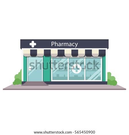 Vector illustration pharmacy shop front facade icon. Drugstore building exterior.