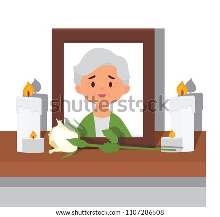 vector illustration picture of elderly woman or grandmother in frame. in memory grandmother photo passed away Foto stock ©