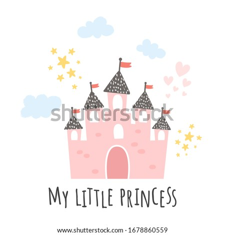 vector illustration, pink castle on white background and my little princess text Сток-фото ©
