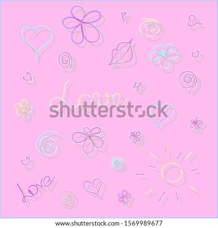 vector  illustration pink heart