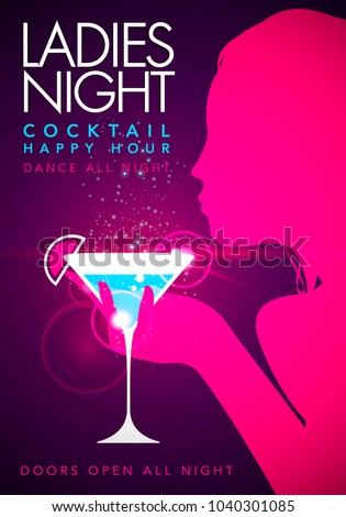 Vector illustration pink template party event happy hour ladies night flyer design with cocktail glass