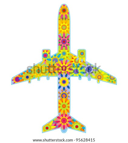 Vector illustration - plane. Abstract colorful background.