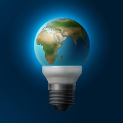 Vector illustration planet Earth inside energy saving lamp isolated on blue background