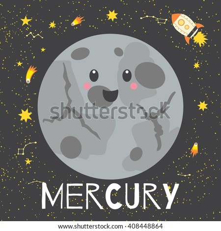 Vector illustration planet Mercury in retro flat cartoon style. Poster for children room, education. Mercury card composition of the planets, stars, comets, constellations, space ship