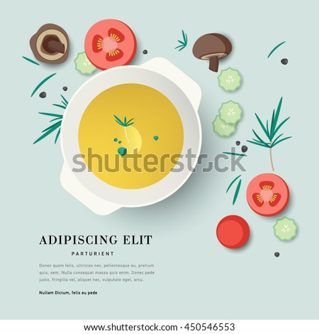 Vector illustration plate of soup with vegetables ingredient. Soup menu for restaurant. Asian style of food. View from above on food.