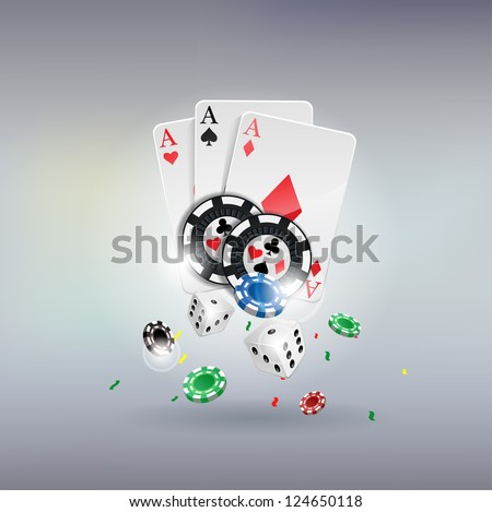 vector illustration poker gambling chips poster poker collection with chips dices cards