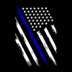 Vector Illustration Police Department Flag, US Flag, Blue Line,
