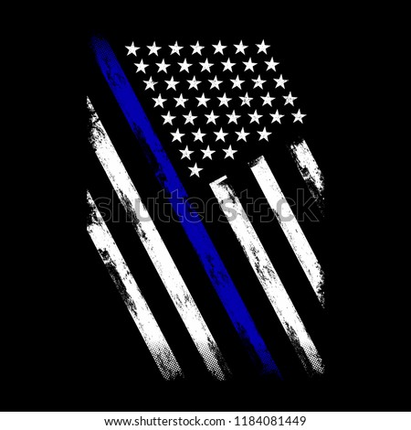 Vector Illustration Police Department Flag, US Flag, Blue Line,