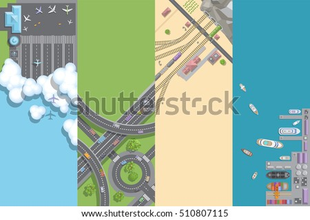 Vector illustration. Port, airports, roads, railways. Top view. Travel, transportation, trucking, logistics. View from above.