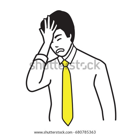 Vector illustration portrait character of businessman slapping on his own head in silly , foolish or a duh moment in something wrong he doing.  Outline hand draw sketching design, simple style. Foto d'archivio ©