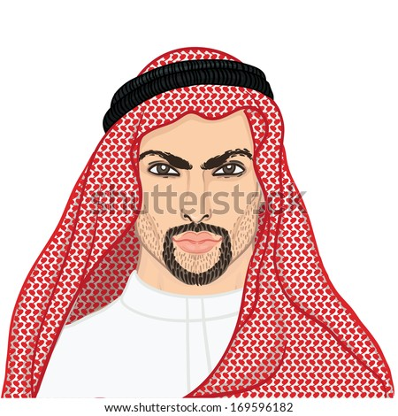 Vector illustration portrait of a arab man in keffiyeh isolated on white