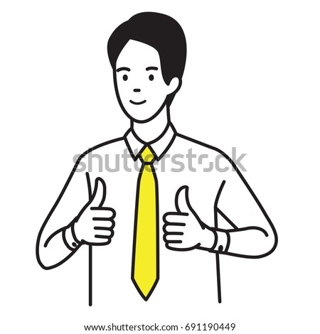 Vector illustration portrait of businessman showing two thumb up gesturing in very good hand sign, concept in satisfy, approval, or well done expression. Outline hand draw sketch design, simple style.