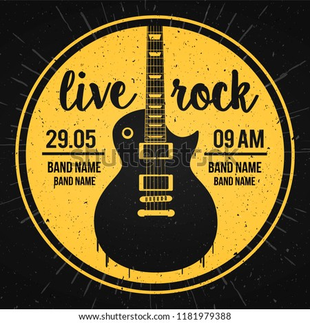 Stock Photo Vector Illustration poster for a live rock music festival with guitar and inscription in retro style. Template for flyers, banners, invitations, brochures and covers.